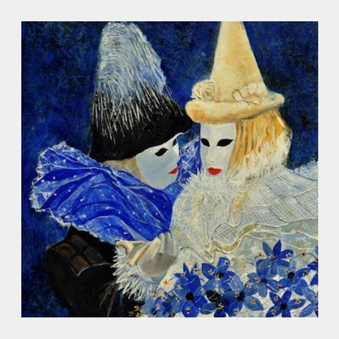 Two Venitian Masks Square Art Prints PosterGully Specials