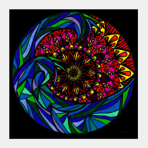 The Mandala Wave Square Art Prints | Artist : Gursimran Kaur