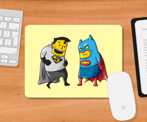 Batman Superman Costume Mix Mousepad | Artist : Juergen Dsouza