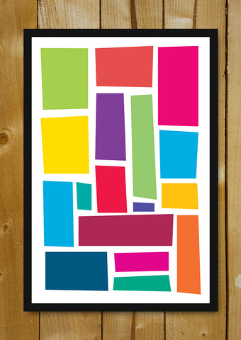 Glass Framed Posters, Abstact Colorful Rectangles Glass Framed Poster, - PosterGully - 1
