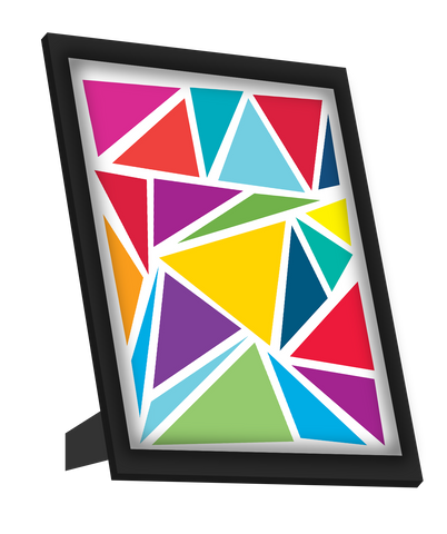 Framed Art, Abstract Colorful Triangles Framed Art, - PosterGully