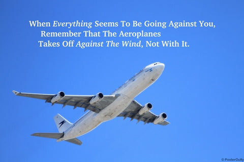Wall Art, Aeroplane Against Wind Motivational, - PosterGully