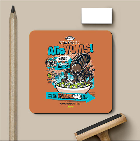 PosterGully Coasters, Alieyums - Orange Coaster | By Captain Kyso, - PosterGully