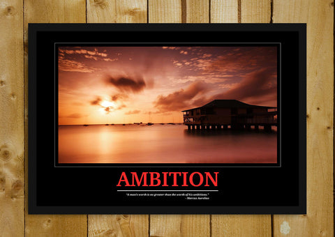 Glass Framed Posters, Ambition Motivational Glass Framed Poster, - PosterGully - 1