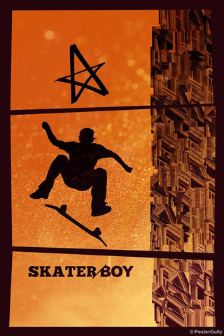 Wall Art, Avril Lavingne | Orange Skater Boy, - PosterGully