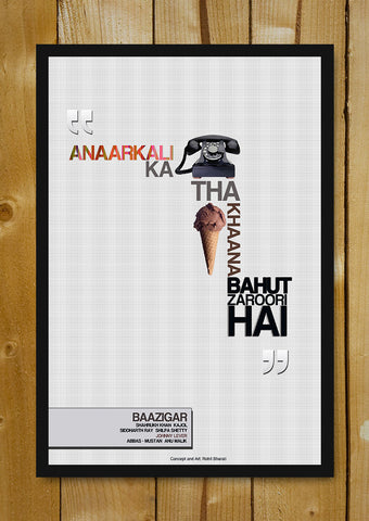 Glass Framed Posters, Baazigar Minimal Bollywood Art Glass Framed Poster, - PosterGully - 1