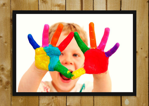 Glass Framed Posters, Baby Colourful Hands Glass Framed Poster, - PosterGully - 1