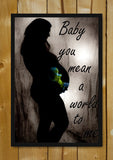 Glass Framed Posters, Baby Mean A World To Mom Glass Framed Poster, - PosterGully - 1