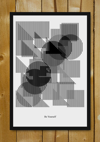 Glass Framed Posters, Be Yourself Minimal Art Glass Framed Poster, - PosterGully - 1