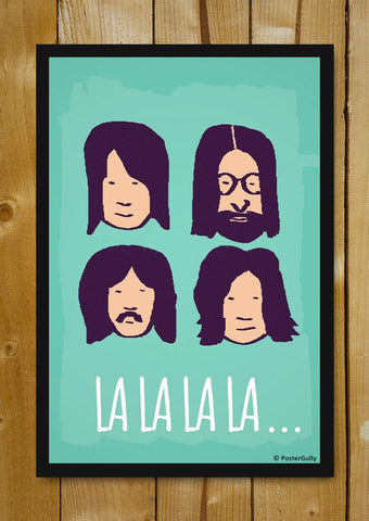 Glass Framed Posters, Beatles La La La Green | Glass Framed Poster, - PosterGully - 5