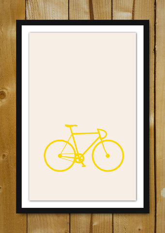 Glass Framed Posters, Bicycle Minimal Art Glass Framed Poster, - PosterGully - 1