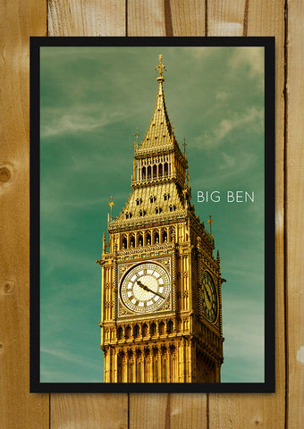 Glass Framed Posters, Big Ben Tower Sky London Glass Framed Poster, - PosterGully - 1