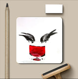 PosterGully Coasters, Bird Drinking Wine Coaster | Artist: Sunanda Puneet, - PosterGully
