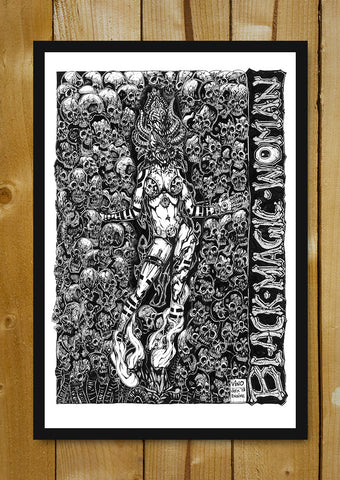Glass Framed Posters, Black Magic Woman Line Art Glass Framed Poster, - PosterGully - 1