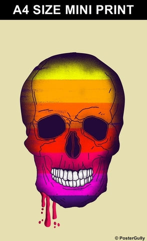 Mini Prints, Bleeding Rainbow Skull Artwork | Mini Print, - PosterGully