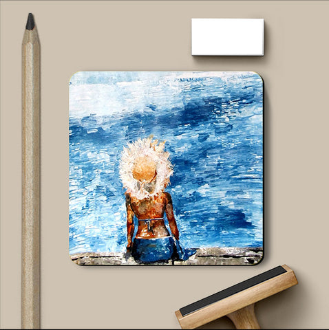 PosterGully Coasters, Blue Sea & Beauty Coaster | Artist: Sunanda Puneet, - PosterGully