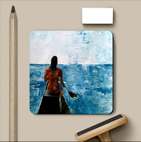 PosterGully Coasters, Blue Sea Watercolor Coaster | Artist: Sunanda Puneet, - PosterGully