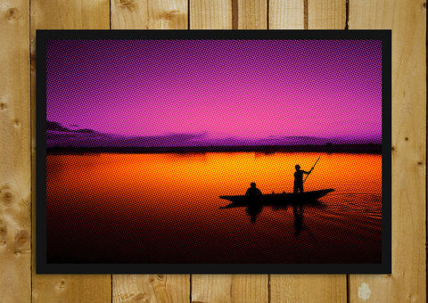 Glass Framed Posters, Boat Pink Sky And Blue Sea Glass Framed Poster, - PosterGully - 1