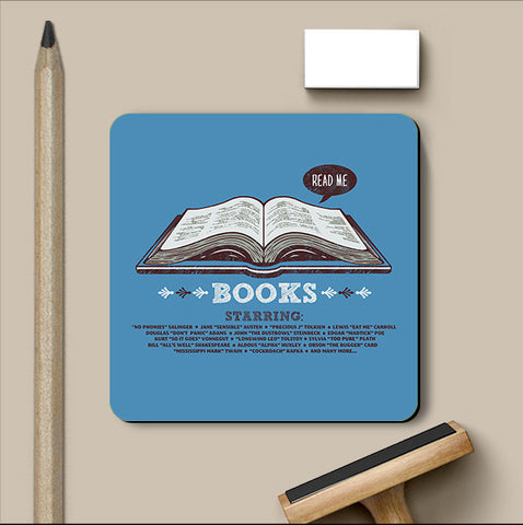 PosterGully Coasters, Books Blue Coaster | By Captain Kyso, - PosterGully