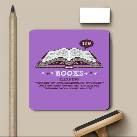 PosterGully Coasters, Books Purple Coaster | By Captain Kyso, - PosterGully