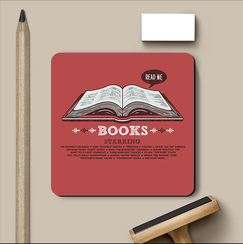 PosterGully Coasters, Books Red Coaster | By Captain Kyso, - PosterGully