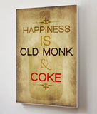 Canvas Art Prints, Happiness - Old Monk Stretched Canvas Print, - PosterGully - 3