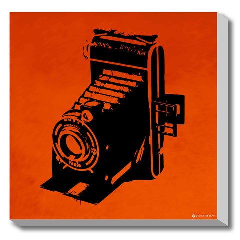Canvas Art Prints, Vintage Camera - Orange Stretched Canvas Print, - PosterGully - 1