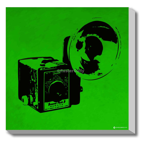 Canvas Art Prints, Vintage Camera - Green Stretched Canvas Print, - PosterGully - 1