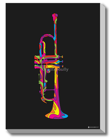 Canvas Art Prints, Trumpet - Pop Art Stretched Canvas Print, - PosterGully - 1
