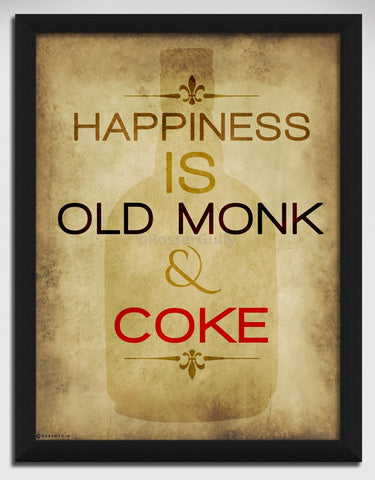 Canvas Art Prints, Happiness - Old Monk Framed Canvas Print, - PosterGully - 1