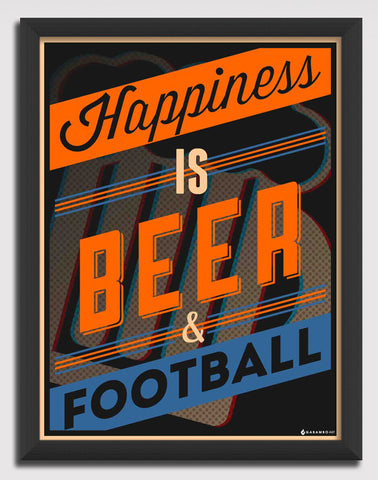 Canvas Art Prints, Happiness - Beer Framed Canvas Print, - PosterGully - 1
