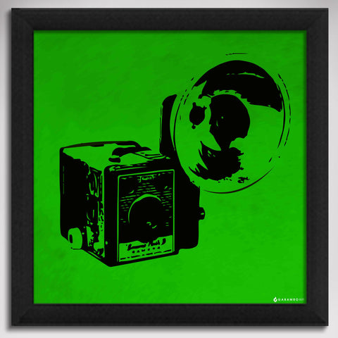 Canvas Art Prints, Vintage Camera - Green Framed Canvas Print, - PosterGully - 1