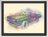 Canvas Art Prints, Inked Vintage Car Framed Canvas Print, - PosterGully - 1