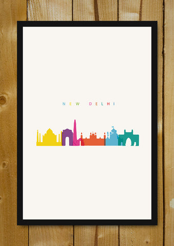 Glass Framed Posters, Capital New Delhi India Minimal Art Glass Framed Poster, - PosterGully - 1