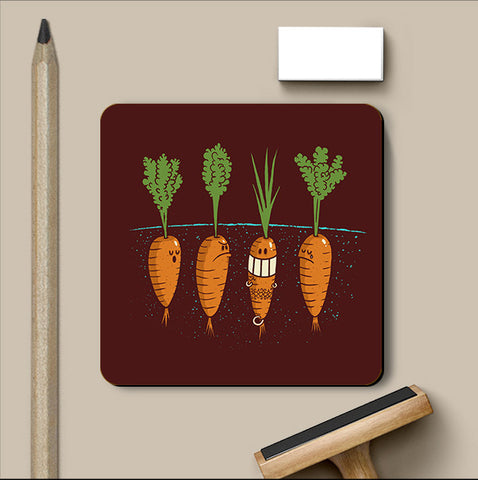 PosterGully Coasters, Carrots - Dark Brown Coaster | By Captain Kyso, - PosterGully