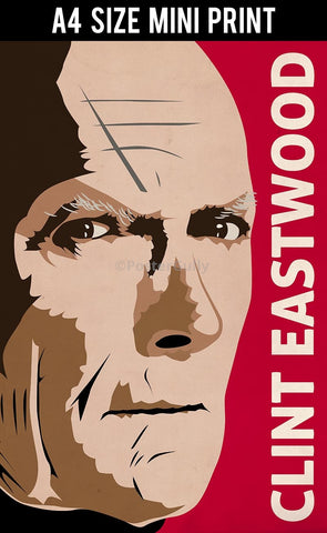 Mini Prints, Clint Eastwood | Pop Red | Mini Print, - PosterGully