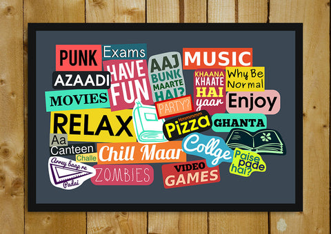 Glass Framed Posters, College Sticker Collage Humour Glass Framed Poster, - PosterGully - 1
