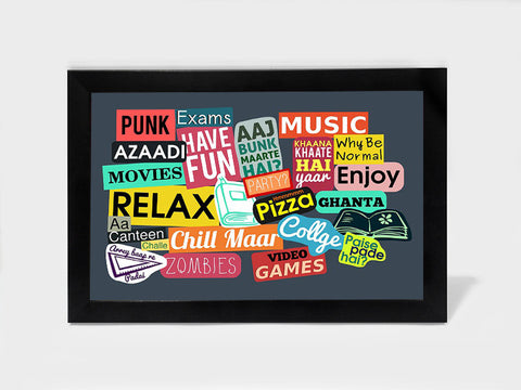 Framed Art, College Sticker Collage Humour | Framed Art, - PosterGully