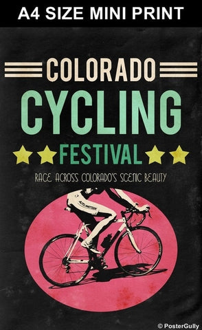 Mini Prints, Colorado Cycling | Vintage Racing | Mini Print, - PosterGully