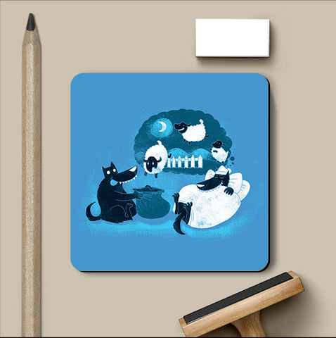 PosterGully Coasters, Counting Sheep Coaster | By Captain Kyso, - PosterGully