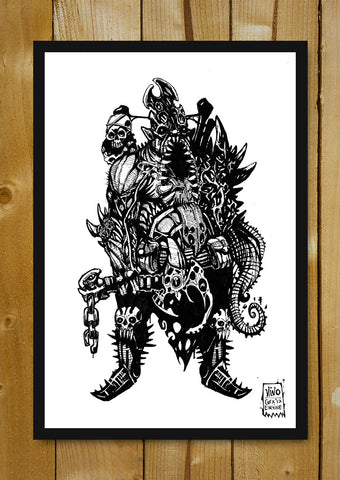 Glass Framed Posters, Cranium Overlord Line Art Glass Framed Poster, - PosterGully - 1
