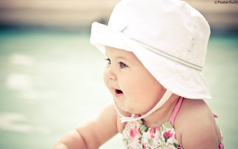 Wall Art, Cute Baby Girl Hat, - PosterGully