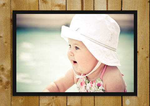 Glass Framed Posters, Cute Baby Girl Hat Glass Framed Poster, - PosterGully - 1