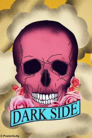 Wall Art, Dark Side Pink Skull, - PosterGully