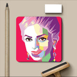 PosterGully Coasters, Deepika Portrait Red Coaster | Artist: Jaiwant Pradhan, - PosterGully