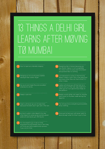 Glass Framed Posters, Delhi Girl In Mumbai 13 Things Glass Framed Poster, - PosterGully - 1