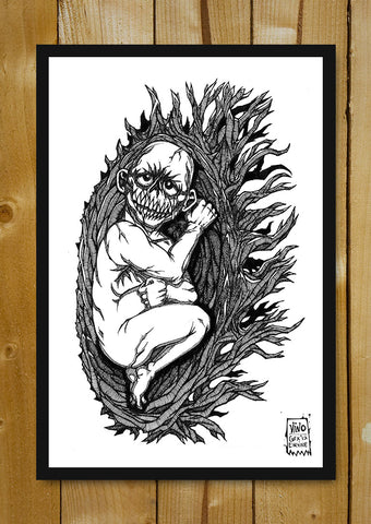 Glass Framed Posters, Demon Child Line Art Glass Framed Poster, - PosterGully - 1