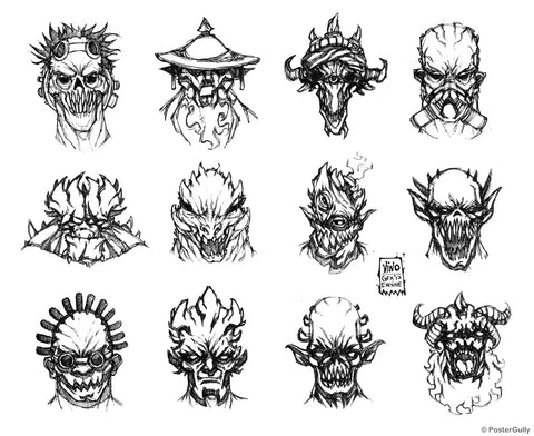 Wall Art, Demon Faces Line Art, - PosterGully