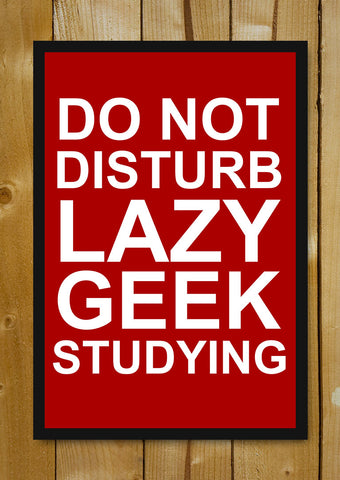 Glass Framed Posters, Do Not Disturb Lazy Geek Studying Glass Framed Poster, - PosterGully - 1