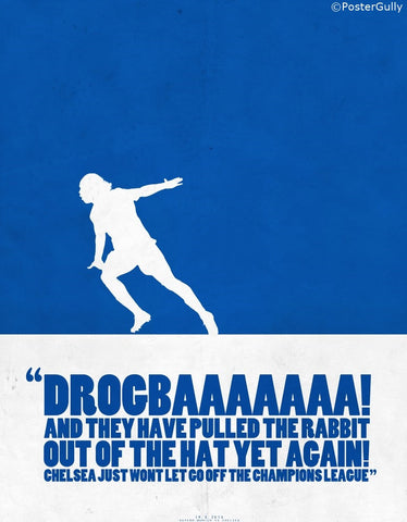 PosterGully Specials, Drogba Scores | Minimal Football Art, - PosterGully